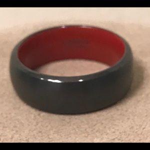 LASHBROOK Zirconium Black Red Comfort Wedding Ring